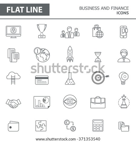 Set of modern simple line icons in flat design. Trendy infographic business and finance concept elements for banners, layouts, corporate  brochures, templates and web sites. Vector eps10 illustration - stock vector