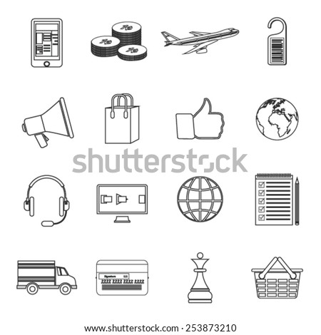 Set of modern simple line icons in flat design with long shadows for web, banners, covers, corporate brochures, logos, mobile applications, business, social networks etc. Vector eps10 illustration - stock vector