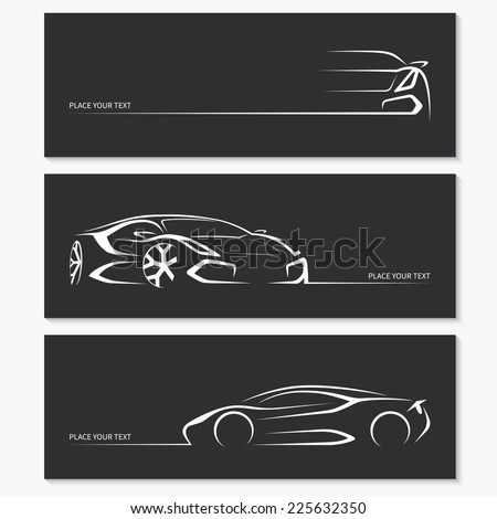 Set of modern sports car silhouettes isolated on dark background. Vector illustration - stock vector