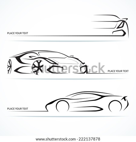 Set of modern sports car silhouettes. Vector illustration - stock vector