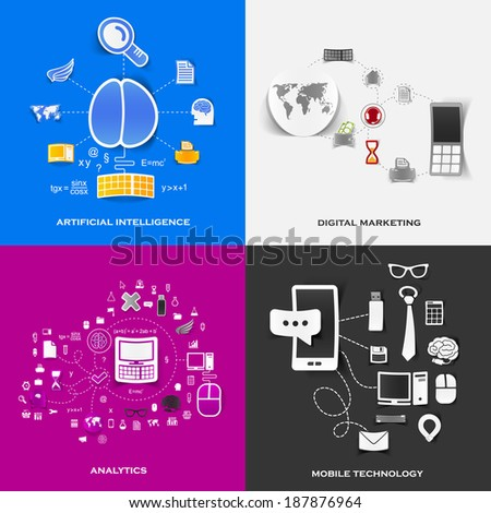 Set of modern stickers. Concept of artificial intelligence, digital marketing, analytics, mobile technology. Vector eps10 illustration - stock vector