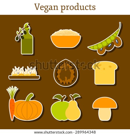 Set of modern stickers in flat style on vegan food theme: fruit, vegetable, mushroom, soy, bean, oil, nut, bread, rice. Raw healthy food or vegan concept. Great for vegan site, app, organic market - stock vector