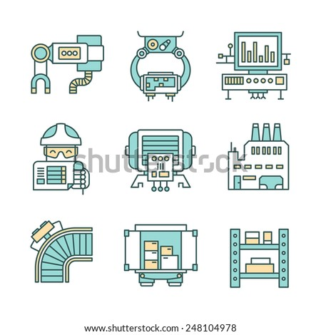 Set of modern style line icons of factory workplace, manufacturing , industrial production process, engineering technology and workflow - stock vector