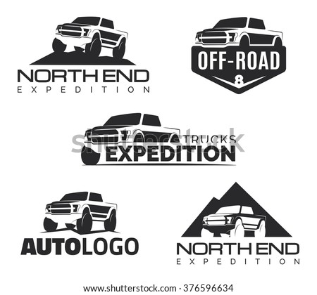 Set of modern suv pickup emblems, icons and logos. Offroad  pickup truck design elements, 4x4 vehicle illustration. Suv car logo template. - stock vector