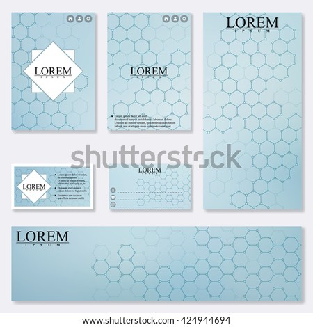 Set of modern templates for brochure, flyer, visit cards and banner. Structure molecule of DNA and neurons. Medicine, science and technology. Vector Illustration.