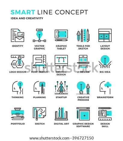 Set of modern thin line icon collection concept of Creativity, Graphic Design, Idea , Designer , Idea process Pixel perfect icon design for Web Graphic , Mobile app ,Vector Design illustration. - stock vector