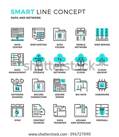 Set of modern thin line icon collection concept of Database , Storage, Cloud Computing , Hardware , Sharing. Pixel perfect icon design for Web Graphic , Mobile app ,Vector Design illustration. - stock vector