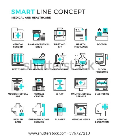 Set of modern thin line icon collection concept of Medical , Healthcare. Pixel perfect icon design for Web Graphic , Mobile app ,Vector Design illustration. - stock vector