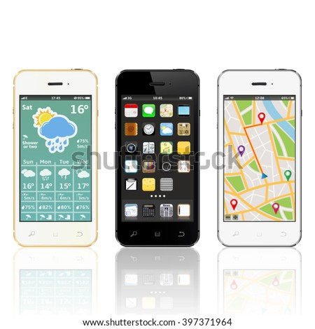 Set of modern touchscreen smartphones with applications on screens - stock vector
