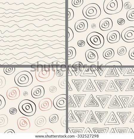Set of modern trendy hand drawn seamless patterns. Wild animals nature textures. - stock vector