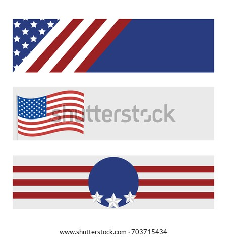 Set of modern USA banners. Template