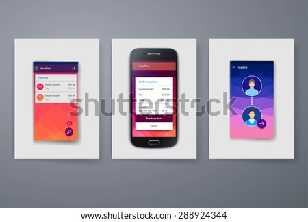 Set of modern user interface (ux, ui) screen template for mobile smart phone or web site. Transparent blurred material design ui with icons. - stock vector