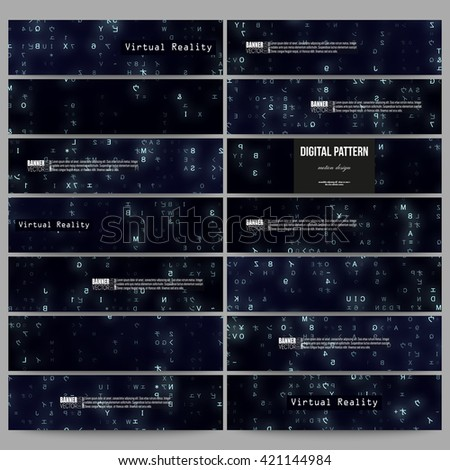 Set of modern vector banners. Virtual reality, abstract technology background with blue symbols, vector illustration. - stock vector