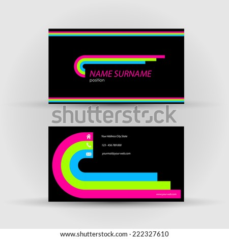 Set of modern vector business card template - stock vector