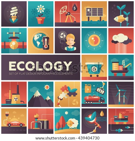 Set of modern vector ecology, environment protection flat design icons in squares. Energy saving, pollution, recycling, heavy industry, climate crisis, ecosystem, environmentally friendly technology - stock vector