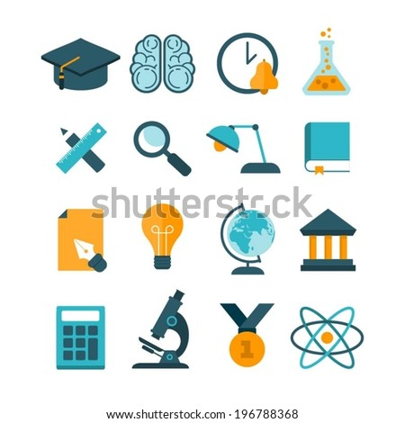 set of modern vector education icons - stock vector