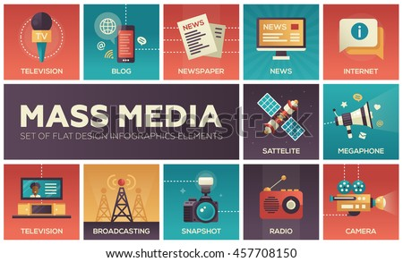 Set of modern vector flat design mass media icons and pictograms. Tv, newspaper, blog, internet, radio satellite, megaphone, broadcasting, camera, snapshot
