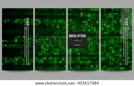 Set of modern vector flyers. Virtual reality, abstract technology background with green symbols, vector illustration. - stock vector