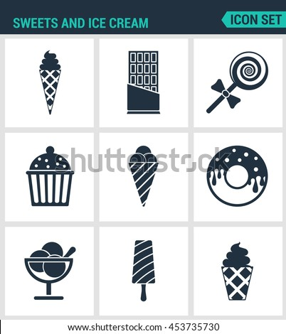 Set of modern vector icons. Sweets and ice cream ice creams, chocolate, candy, cake, Donuts, dessert, popsicle. Black signs on a white background. Design isolated symbols and silhouettes. - stock vector