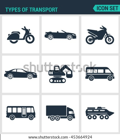 Set of modern vector icons. types of transport scooter, convertible, motorcycle, car, tractor, eskalator, bus, truck, tank. Black signs on a white background. Design isolated symbols and silhouettes. - stock vector