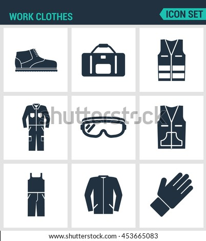 Set of modern vector icons. Work clothes shoes, bag, vest, working, suit, protective glasses, sweater, gloves. Black signs on a white background. Design isolated symbols and silhouettes.