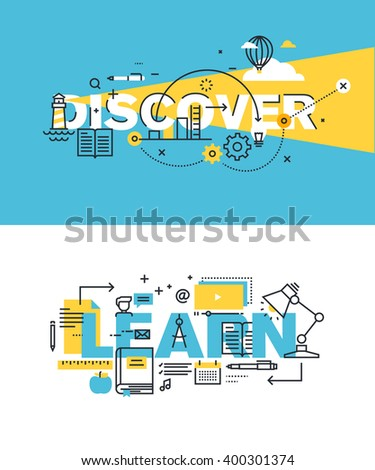 Set of modern vector illustration concepts of words discover and learn. Thin line flat design banners for website and mobile website, easy to use and highly customizable. - stock vector
