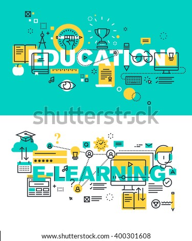 Set of modern vector illustration concepts of words education and e-learning. Thin line flat design banners for website and mobile website, easy to use and highly customizable. - stock vector