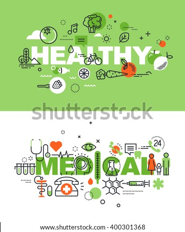 Set of modern vector illustration concepts of words healthy and medical. Thin line flat design banners for website and mobile website, easy to use and highly customizable. - stock vector