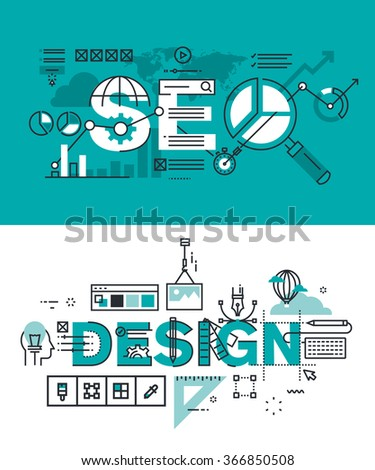 Set of modern vector illustration concepts of words SEO and design. Thin line flat design banners for website and mobile website, easy to use and highly customizable. - stock vector