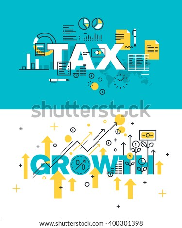 Set of modern vector illustration concepts of words tax and growth. Thin line flat design banners for website and mobile website, easy to use and highly customizable. - stock vector