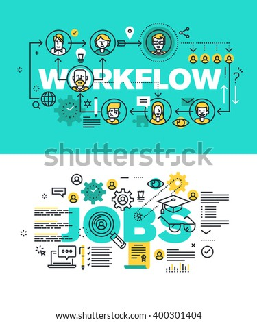 Set of modern vector illustration concepts of words workflow and jobs. Thin line flat design banners for website and mobile website, easy to use and highly customizable. - stock vector