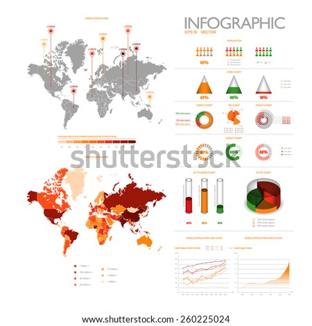 Set of modern vector info graphic elements - stock vector