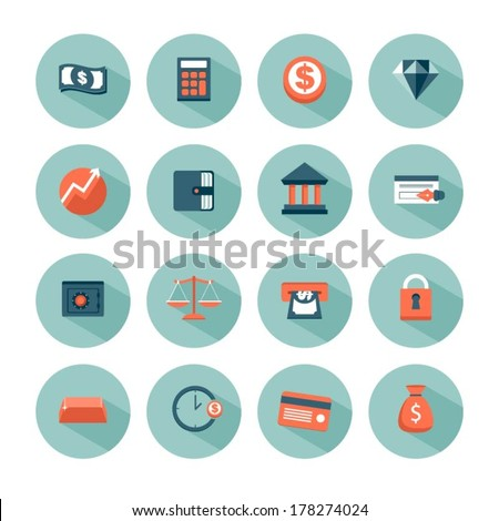set of modern vector money and finance icons - stock vector