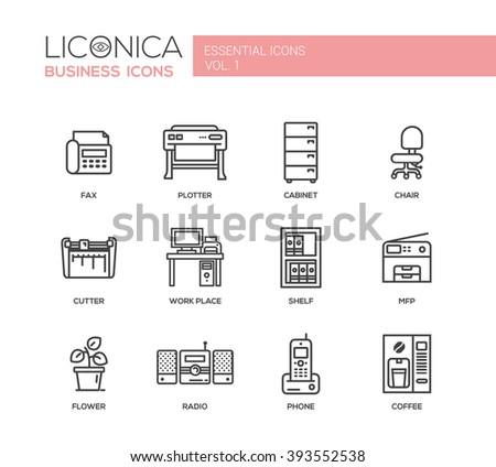 Set of modern vector office simple line design icons and pictograms. Collection of business infographics objects and web elements. Fax, plotter, work place, mfp, shelf, flower, radio, phone, coffee - stock vector