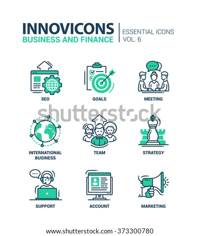 Set of modern vector office thin line flat design icons and pictograms. Collection of business and finance infographics objects, web elements. SEO, goals, team, strategy, support, account, marketing - stock vector