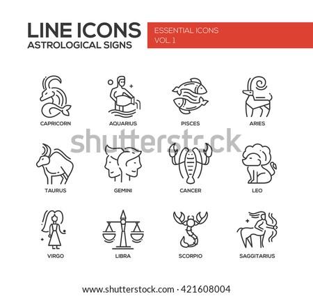 Set of modern vector plain line design icons and pictograms of zodiac signs. Capricorn, aquarius, pisces, aries, taurus, gemini, cancer, leo, sagittarius, virgo - stock vector
