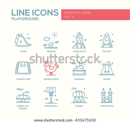 Set of modern vector simple plain line design icons and pictograms of children playground. Slide, spring horse, jungle gym, rocket, monkey bar, seasaw, sandbox, swing, merry-go-round, streetball - stock vector
