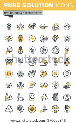 Set of modern vector thin line ecology icons. Modern vector logo pictogram and infographic design elements collection. Outline icon collection for website and app design. - stock vector