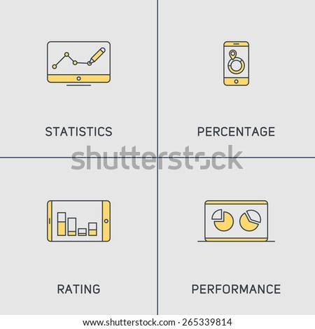 Set of Modern Vector Thin Line Icons. Statistics, Percentage, Rating, Performance - stock vector