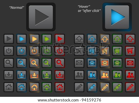 Set of modern web buttons. Two versions - normal and hover or after click. - stock vector