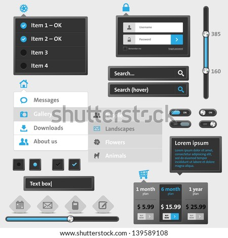Set of modern web menu and elements - stock vector