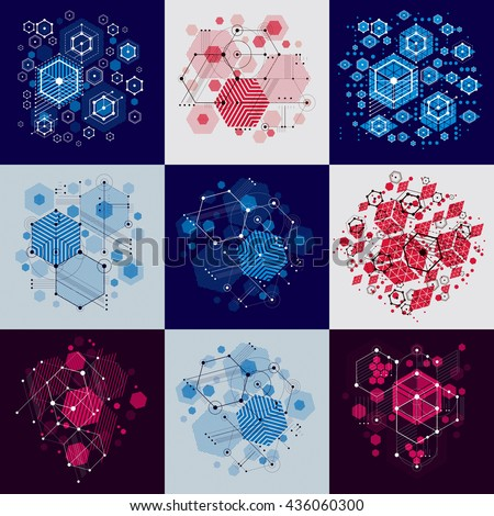 Set of modular Bauhaus vector backgrounds, created from simple geometric figures like circles and hexagons. Best for use as advertising poster or banner design.