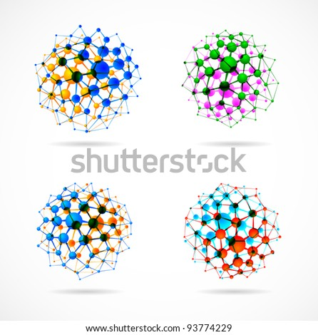 Set of molecular structures in the form of spheres. Eps 10 - stock vector