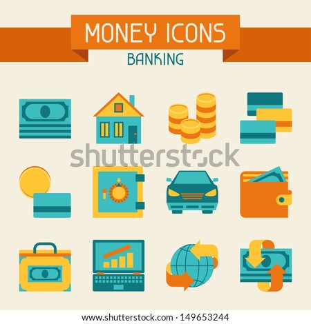 Set of money and banking icons. - stock vector