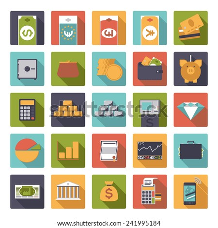 Set of 25 money and finance related vector icons in rounded squares, flat design - stock vector