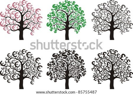 set of money trees  design elements isolated on White background. Vector illustration - stock vector