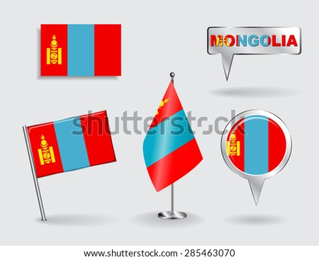 Set of Mongolian pin, icon and map pointer flags. Vector illustration. - stock vector