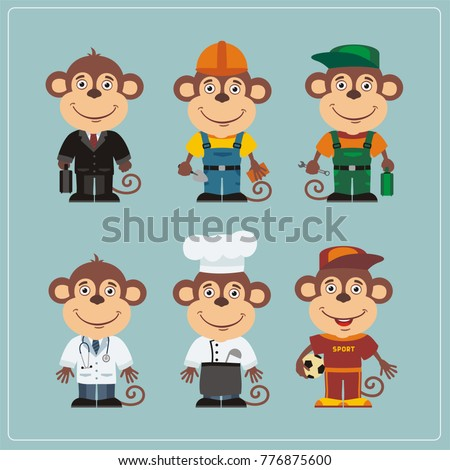 Set of monkey in different costumes: builder, sportsman, worker, a doctor, manager, cook. Collection of monkey in clothes in cartoon style.