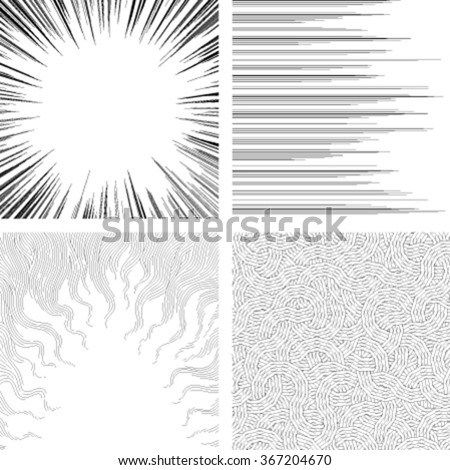 Set of monochrome backgrounds for comic books - stock vector