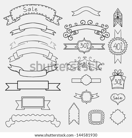 Set of monochrome banners and frames - vector - stock vector